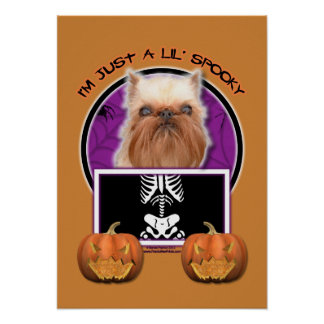Halloween - Just a Lil Spooky - Brussels Griffon Poster