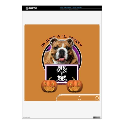 Halloween - Just a Lil Spooky - Bulldog Decal For PS3 Slim