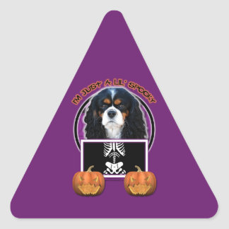 Halloween - Just a Lil Spooky - Cavalier -TriColor Triangle Sticker