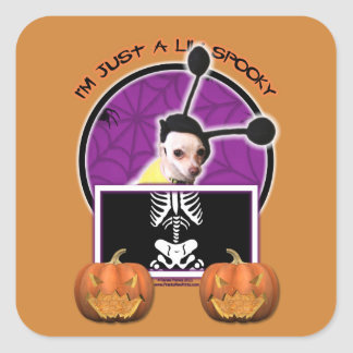 Halloween - Just a Lil Spooky - Cheagle - Izzy Square Sticker