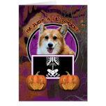 Halloween - Just a Lil Spooky - Corgi - Owen Greeting Card