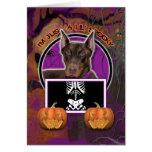 Halloween - Just a Lil Spooky - Doberman - Rocky Greeting Card