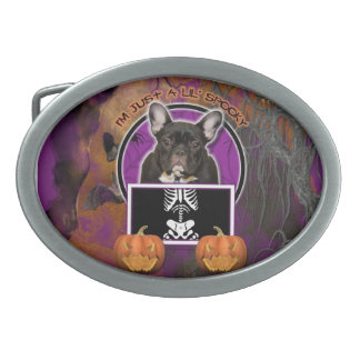 Halloween - Just a Lil Spooky - Frenchie - Teal Belt Buckle