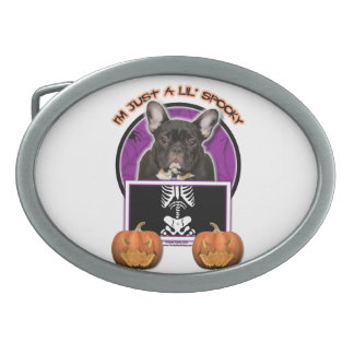 Halloween - Just a Lil Spooky - Frenchie - Teal Oval Belt Buckles