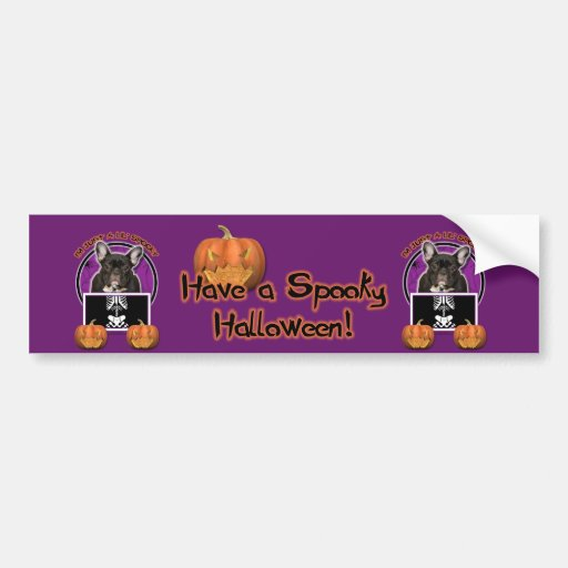 Halloween - Just a Lil Spooky - Frenchie - Teal Bumper Stickers