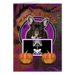 Halloween - Just a Lil Spooky - Frenchie - Teal Greeting Card
