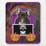 Halloween - Just a Lil Spooky - Frenchie - Teal Mouse Pad