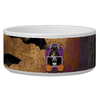 Halloween - Just a Lil Spooky - Frenchie - Teal Pet Bowl