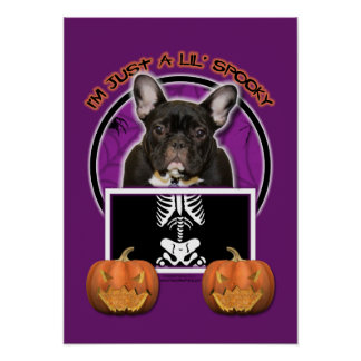 Halloween - Just a Lil Spooky - Frenchie - Teal Poster