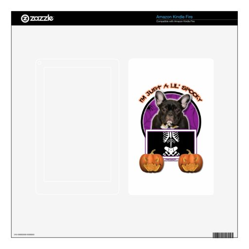 Halloween - Just a Lil Spooky - Frenchie - Teal Kindle Fire Skins