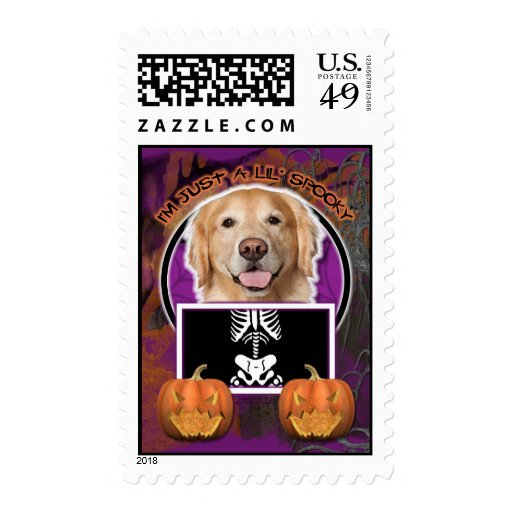 Halloween - Just a Lil Spooky - Golden Retriever Postage Stamps