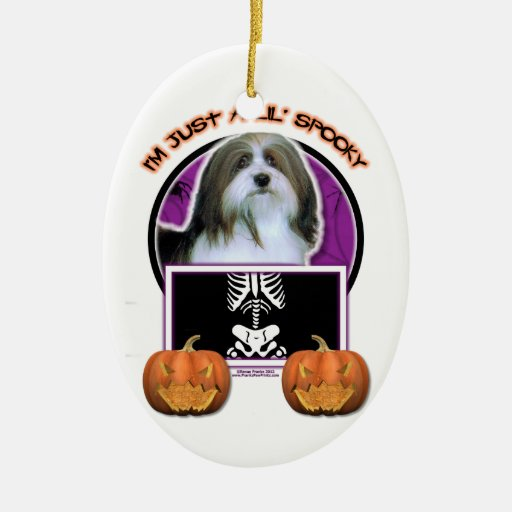 Halloween - Just a Lil Spooky - Havanese Double-Sided Oval Ceramic Christmas Ornament