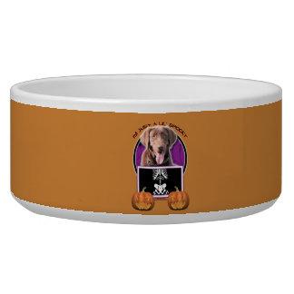 Halloween - Just a Lil Spooky - Labrador - Chocola Dog Bowl
