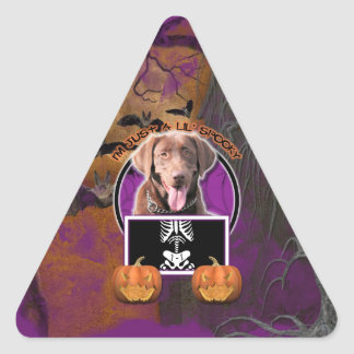 Halloween - Just a Lil Spooky - Labrador Chocolate Triangle Sticker
