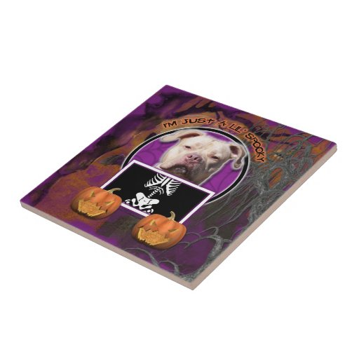 Halloween - Just a Lil Spooky - Pitbull JerseyGirl Ceramic Tiles