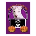 Halloween - Just a Lil Spooky - Pitbull Puppy Postcard