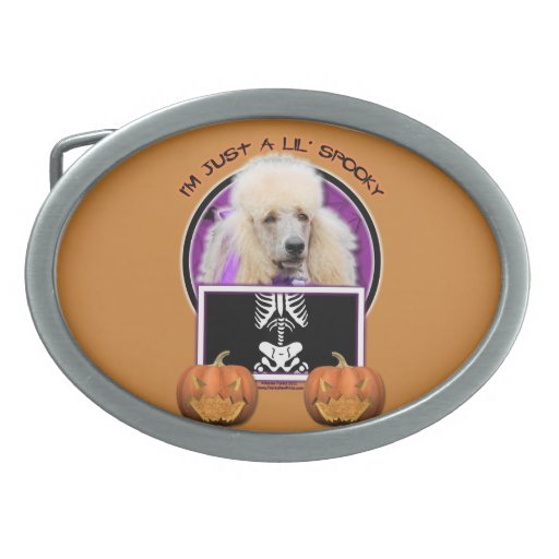 Halloween - Just a Lil Spooky - Poodle - Champagne Belt Buckle