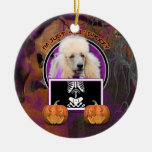 Halloween - Just a Lil Spooky - Poodle - Champagne Double-Sided Ceramic Round Christmas Ornament