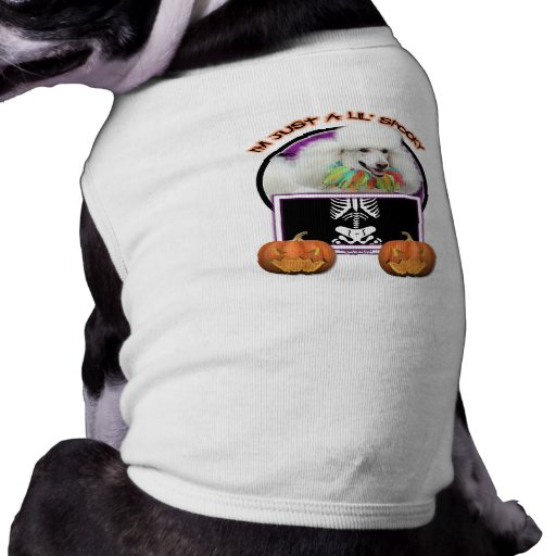 Halloween - Just a Lil Spooky - Poodle - White Dog Tshirt