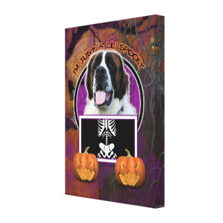 Halloween - Just a Lil Spooky - St Bernard - Mae Gallery Wrapped Canvas