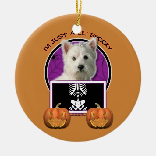 Halloween - Just a Lil Spooky -Westie Double-Sided Ceramic Round Christmas Ornament