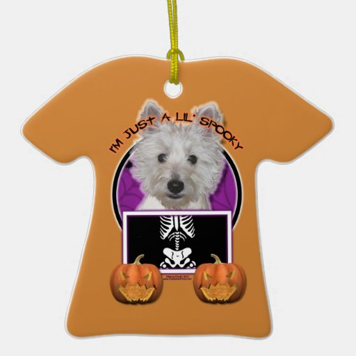 Halloween - Just a Lil Spooky - Westie - Tank Christmas Ornament