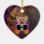 Halloween - Just a Lil Spooky - Yorkie Double-Sided Heart Ceramic Christmas Ornament