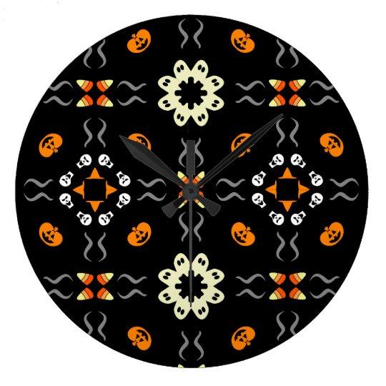 Halloween Kaleidoscope Pattern Black Custom Clock