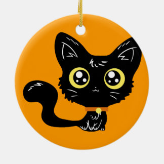 Halloween Kawaii Black Kitten Ornament