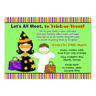 "Halloween Kids Halloween Trick or Treat Party 5"" X 7"" Invitation Card"