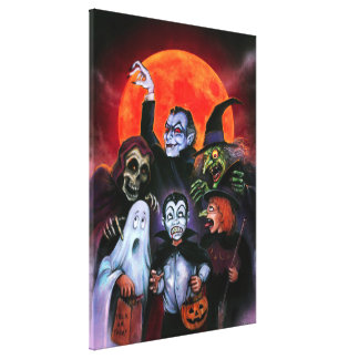 Halloween Kids meet Monsters Canvas Print