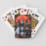 """Halloween Kids meet Monsters Playing Cards<br><div class=""""desc"""">When these Trick or Treaters went out on Halloween Night,  they didn&#39;t expect to run into their real life counterparts. Dracula,  Ghost &amp; Witch having some Halloween fun with these young cos-players available in a goodie bag of items!</div>"""