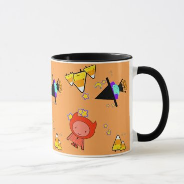 Halloween Themed Halloween Kids with Candy Corns and Stars Kawaii - Mug
