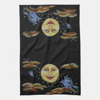 Halloween kitchen towel moon witches stars