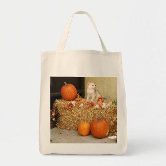Halloween Kitten & Pumpkins Straw Bale Tote