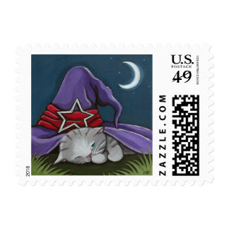 Halloween Kitten Sleeping Under Witch's Hat Postage