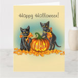 Sweet Halloween Kittens & Glowing Jack-o-Lantern Card (Visit shop to explore more cards and gifts).
