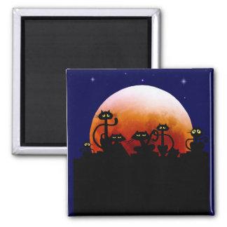 Halloween Kitties and Halloween Moon Magnet
