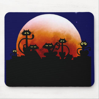 Halloween Kitties and Halloween Moon Mousepad