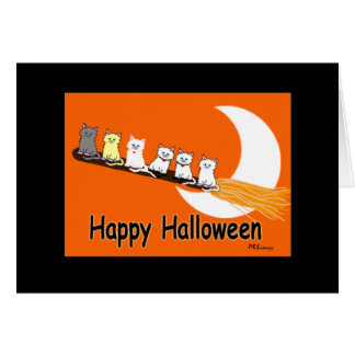 Halloween Kitties In A Row Greeting Card