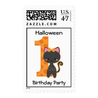 Halloween Kitty 1st Birthday Postage