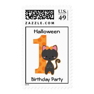 Halloween Kitty 1st Birthday Postage Stamp