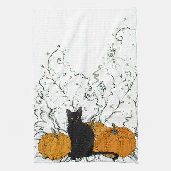 Halloween Kitty Hand Towel
