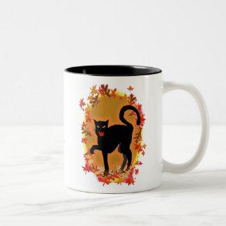 halloween kitty Two-Tone coffee mug
