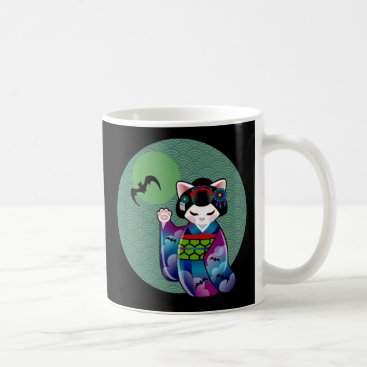 Halloween Themed Halloween Kokeshi Maneki Neko Japanese Lucky Cat Coffee Mug
