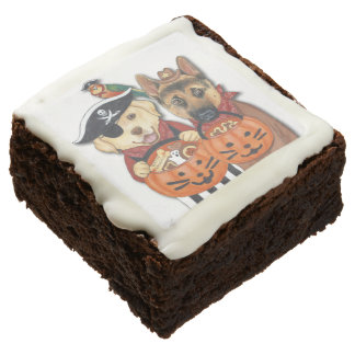 Halloween Lab, Shepherd, and Parrot in Costumes Chocolate Brownie
