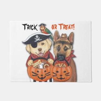 Halloween Lab, Shepherd, and Parrot in Costumes Doormat