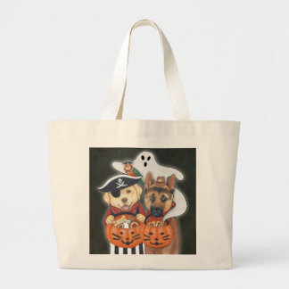 Halloween Lab, Shepherd, and Parrot in Costumes Jumbo Tote Bag