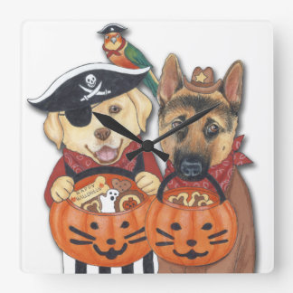 Halloween Lab, Shepherd, and Parrot in Costumes Square Wall Clock