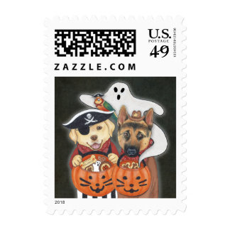 Halloween Lab, Shepherd, and Parrot in Costumes Stamps